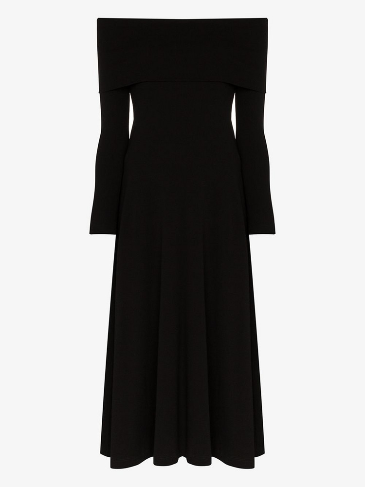 Rosetta Getty Off-the-shoulder long flared dress in black