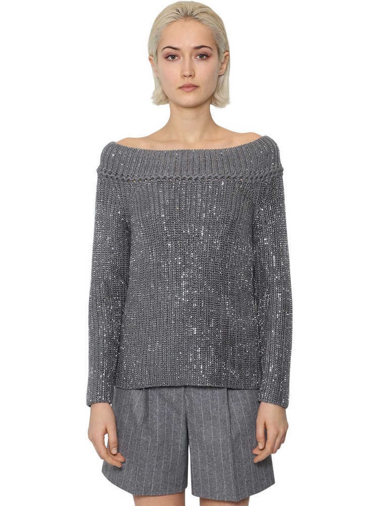 ERMANNO SCERVINO Off The Shoulder Wool Knit Sweater in grey
