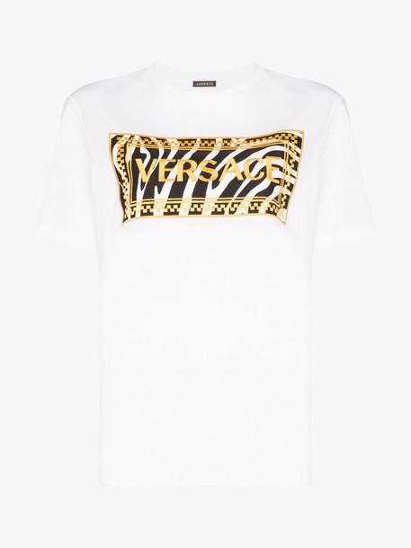 Versace logo embroidered zebra print cotton T-shirt