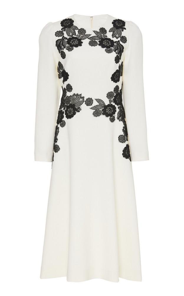 Lela Rose Floral-Appliqued Cady A-Line Dress Size: 4 in black