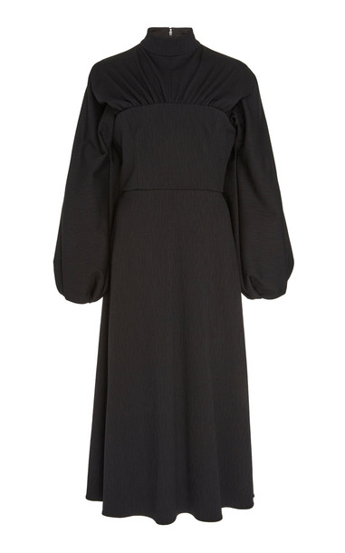 Christian Siriano Crepe Long-Sleeve Mockneck Dress in black