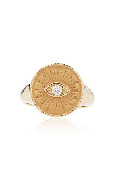 Sydney Evan 14K Yellow Gold Marquis Eye Coin Signet Ring Size: 6.5
