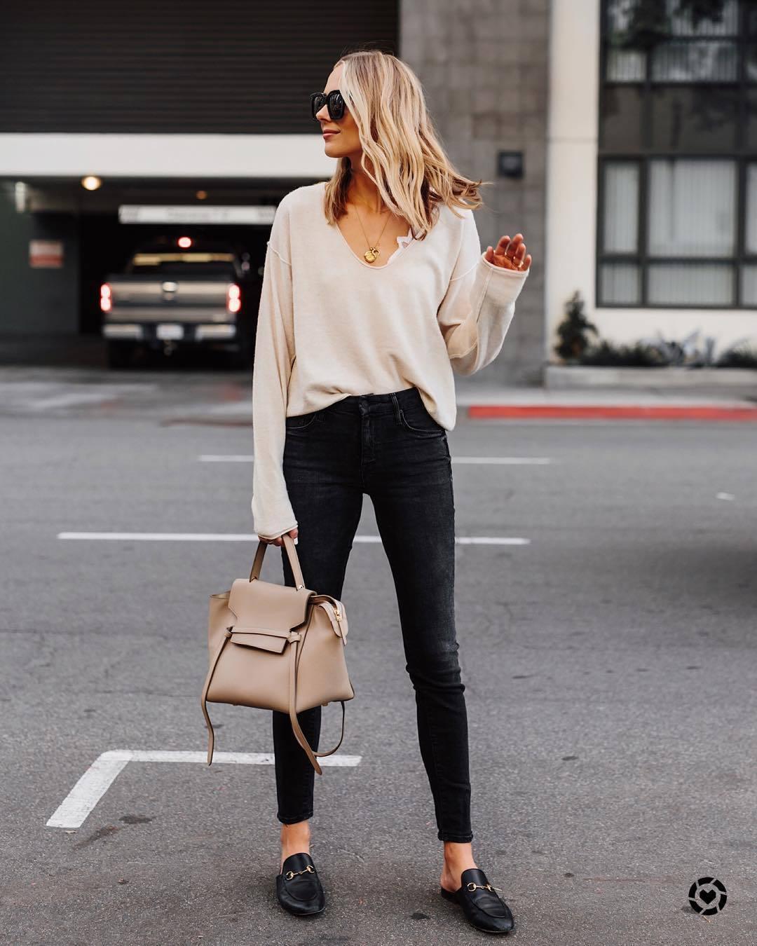 sweater cashmere jumper v neck bralette black loafers mules black skinny jeans bag
