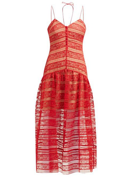 Self-portrait - Floral Lace Panelled Midi Dress - Womens - Red
