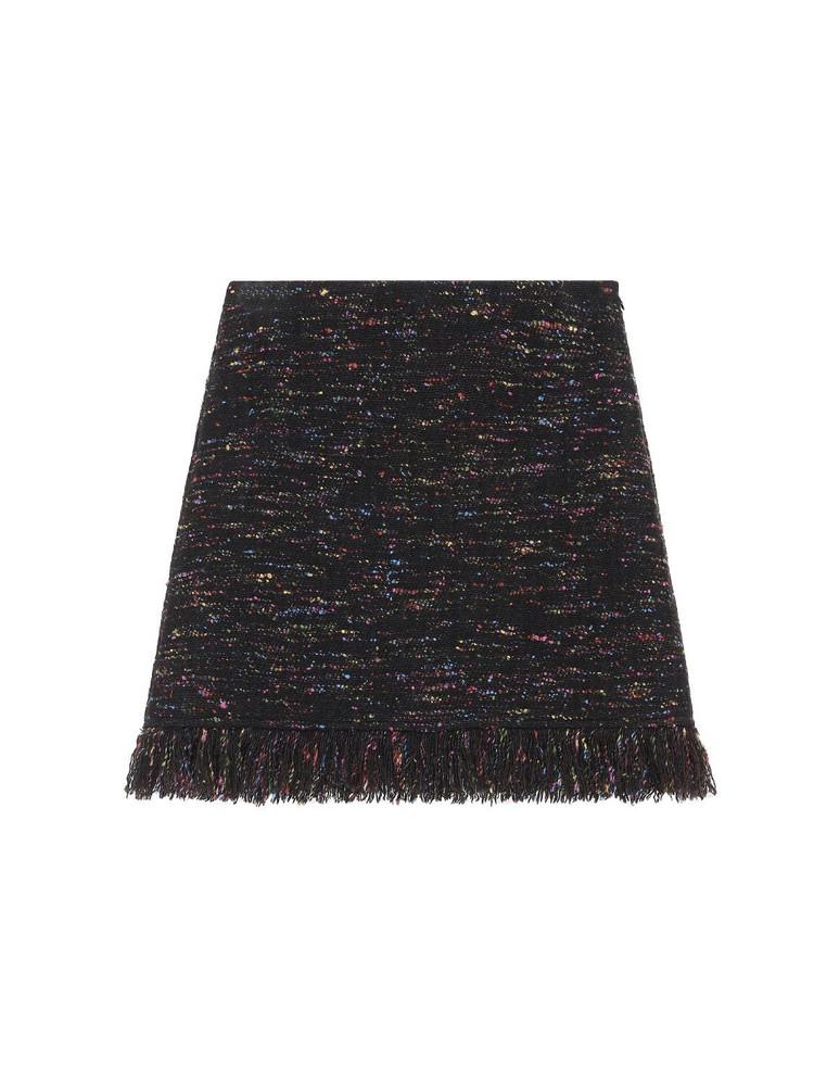 GANNI Oversized Wool Blend Fringed Mini Skirt in black