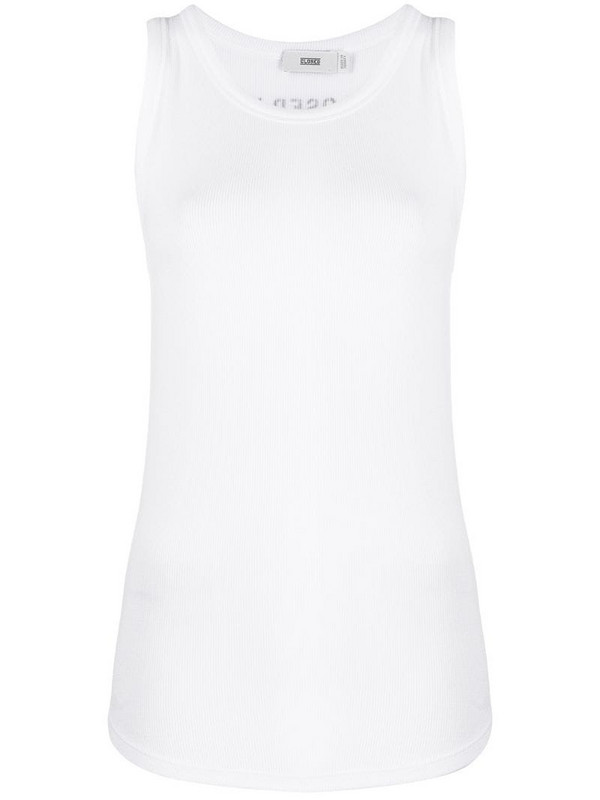 Closed ribbed jersey tank top in white