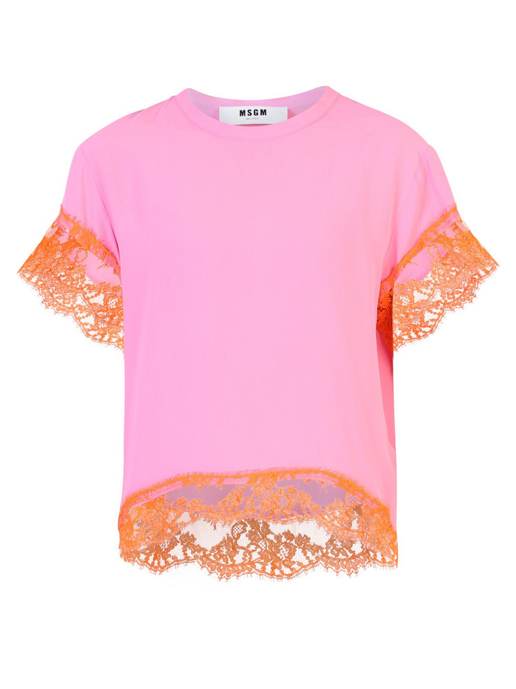 MSGM Silk Blend Blouse in pink