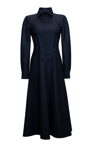 Lake Studio Collared Wool Midi Dress in blue