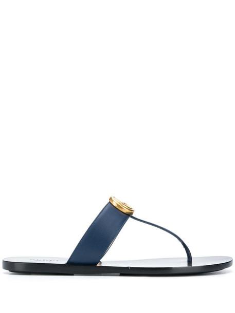 Gucci Interlocking G thong-strap sandals in blue