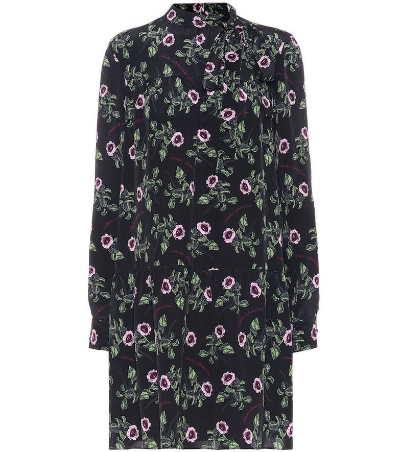 Valentino Floral silk-crêpe dress in black