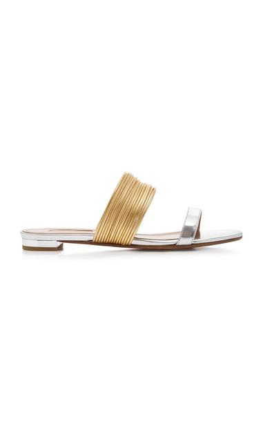 Aquazzura Rendez Vous Metallic Sandals in gold