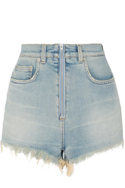 Givenchy - Distressed Faded Stretch-denim Shorts - Blue