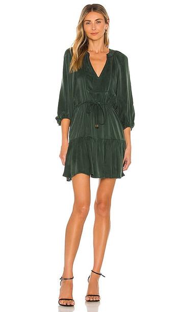 Karina Grimaldi Tanna Solid Mini Dress in Dark Green