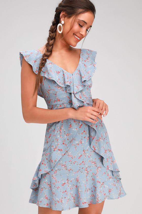Radiant Rosa Light Blue Floral Print Ruffled Mini Dress