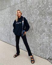 sweater,black hoodie,oversized,black pants,black sandals,chanel,bag