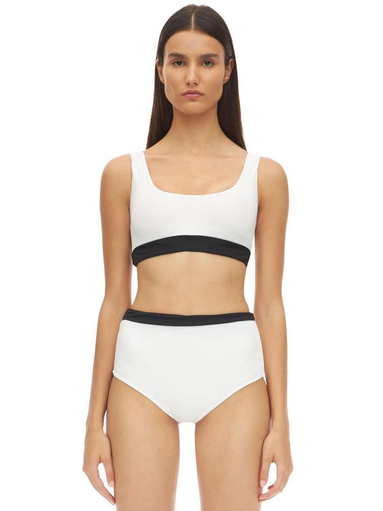 AEXAE Scoop Neck Bikini Top in black / white
