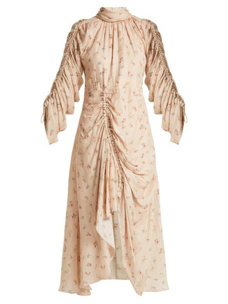 Preen By Thornton Bregazzi - Zillie Floral Print Silk Dress - Womens - Ivory Multi