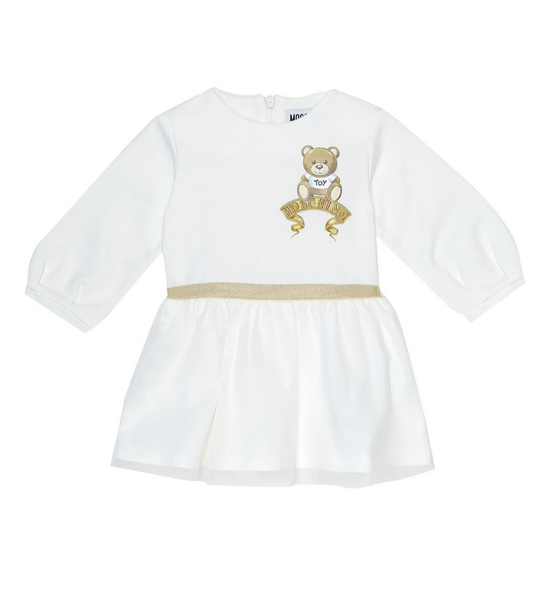 Moschino Kids Baby stretch-cotton and tulle dress in white