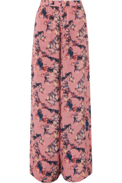IRO - Tany Printed Crepe De Chine Wide-leg Pants - Pink