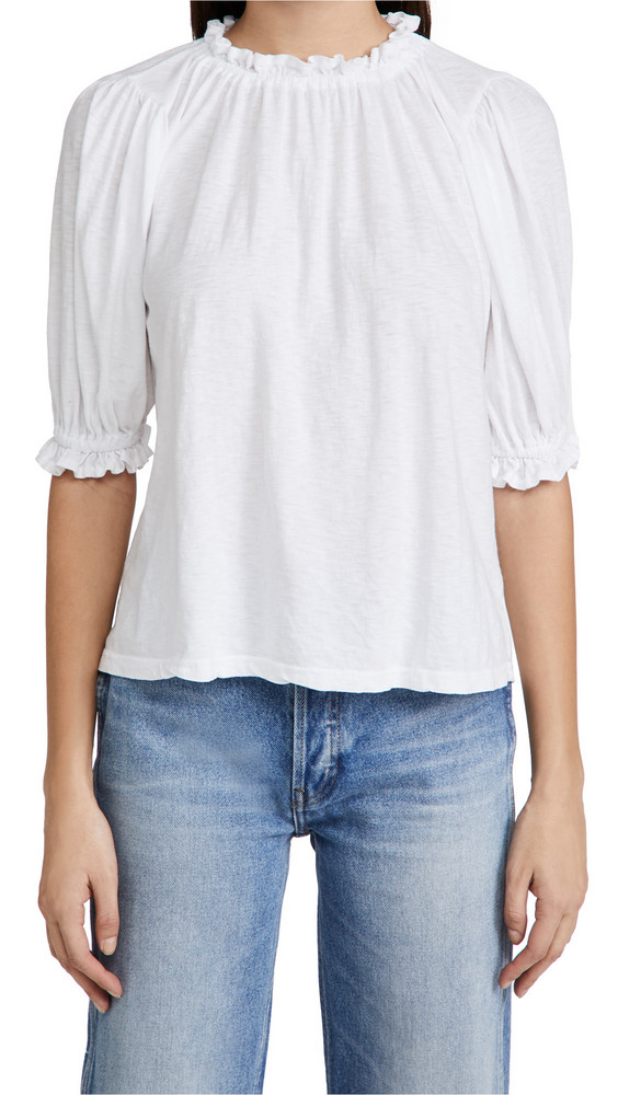 SUNDRY Bubble Sleeve Top in white