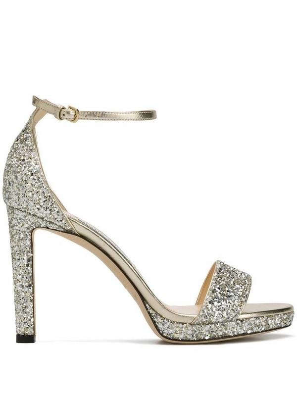 Jimmy Choo Misty sparkle heeled sandals in metallic