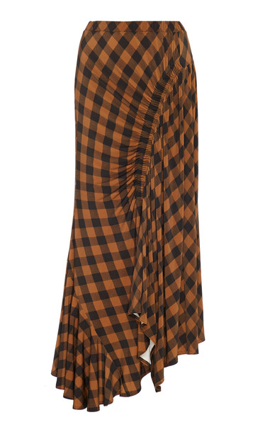 Preen by Thornton Bregazzi Hayat Ruched Checked Twill Midi Skirt Size: in brown