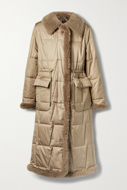 Akris - Shearling-trimmed Quilted Mulberry Silk-blend Shell Coat - Brown
