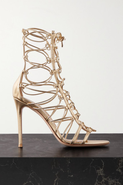 Gianvito Rossi - 105 Metallic Leather Sandals - Gold