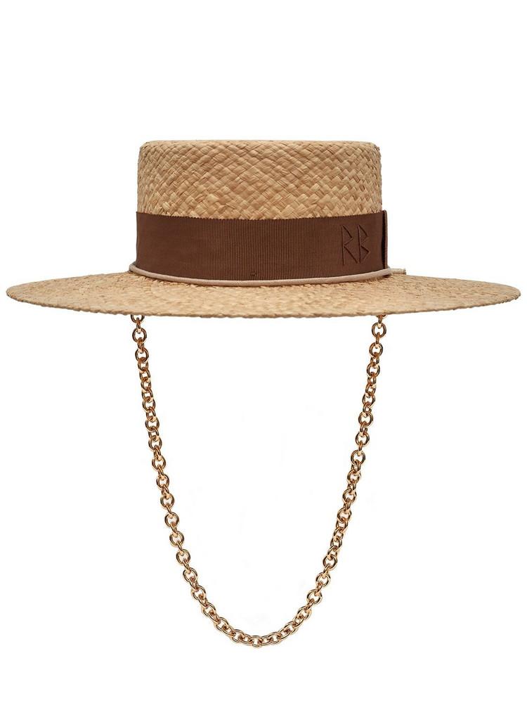 RUSLAN BAGINSKIY Chain Strap Straw Boater Hat in natural