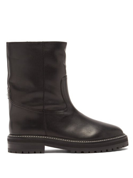 Jimmy Choo - Yari Logo-plaque Shearling-lined Leather Boots - Womens - Black