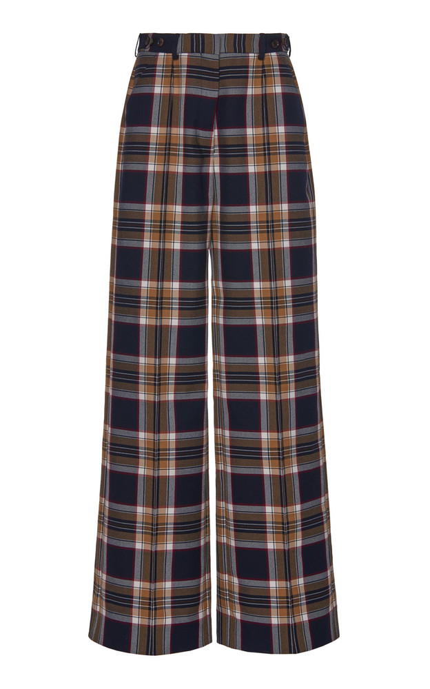 Rokh Plaid Crepe Wide-Leg Pants Size: 36 in navy