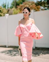dress,midi dress,off the shoulder dress,pink dress,bucket bag