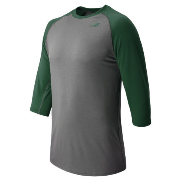 New Balance 2102 Men's 3/4 Raglan Baseball Top - Team Dark Green, Grey (TMMT2102TDG)