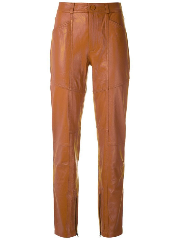 Eva leather paneled trousers in brown