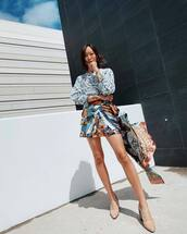 shorts,High waisted shorts,chloe,ankle boots,blouse