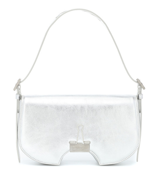 Off-White Swiss leather shoulder bag in silver