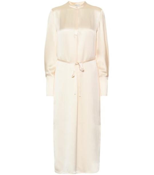 Vince Silk satin midi dress in white