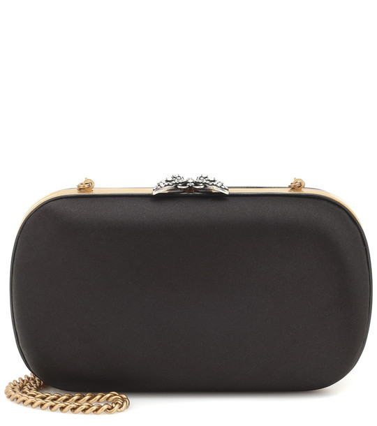 Gucci Broadway embellished satin clutch in black