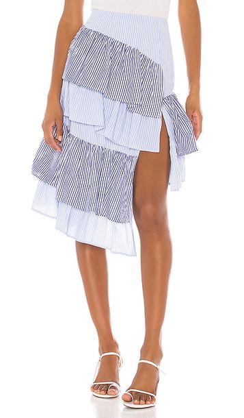 L'Academie The Francine Midi Skirt in Blue
