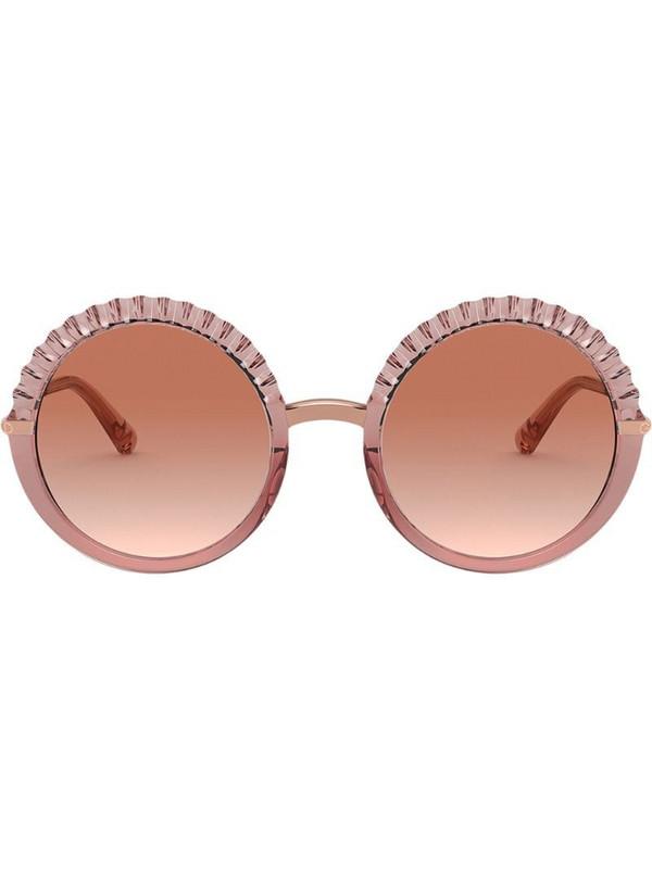 Dolce & Gabbana Eyewear Plissé round-frame sunglasses in pink