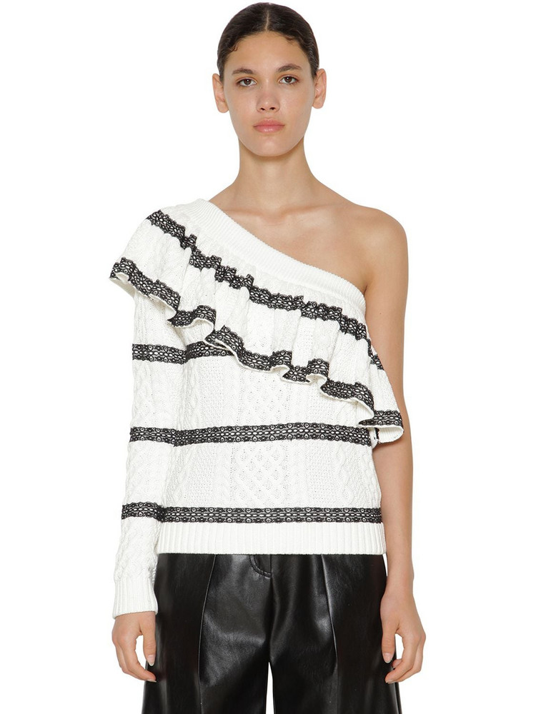 SELF-PORTRAIT One Shoulder Cotton Knit Sweater in black / white