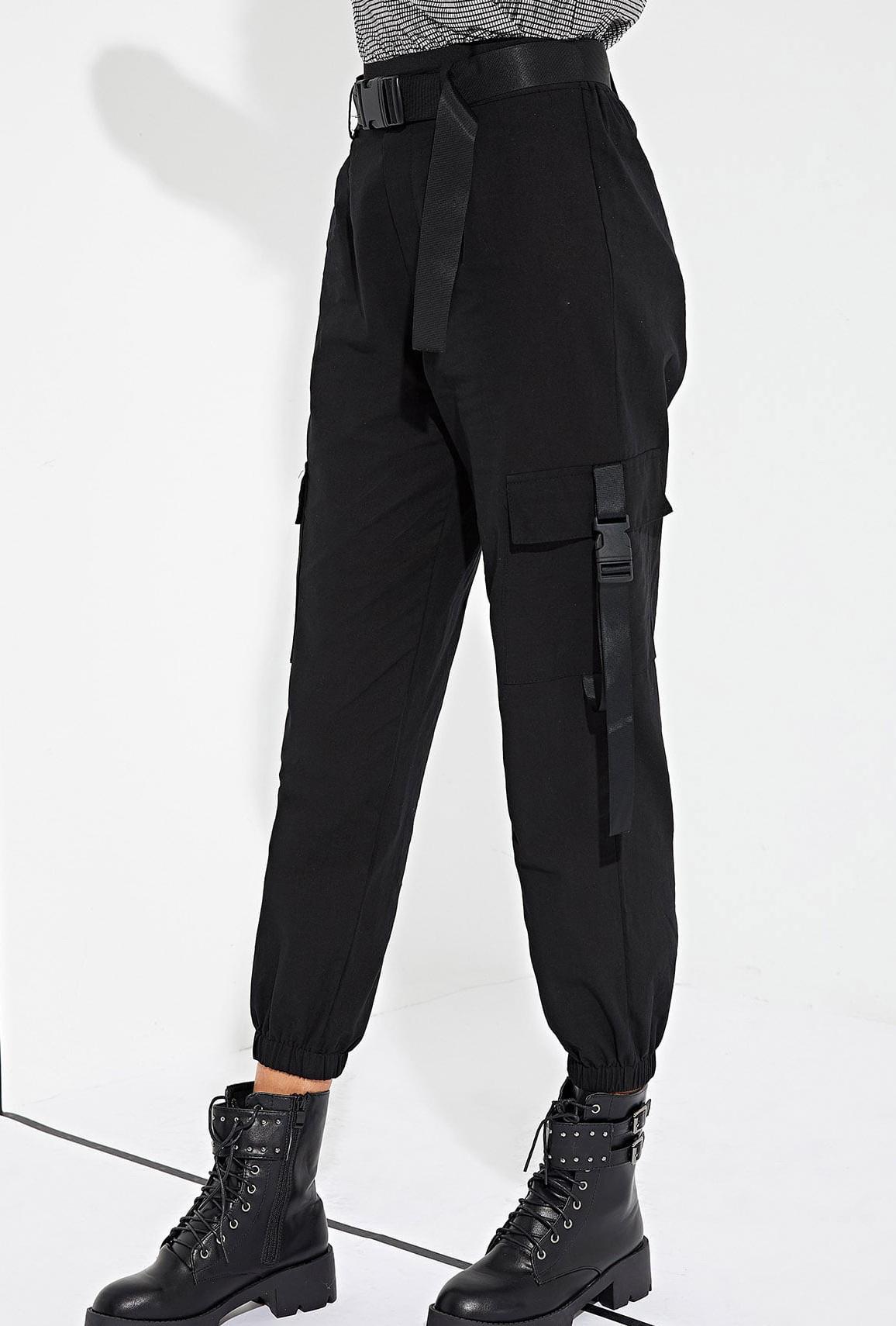 a3195aca pants girly girl girly wishlist black cargo pants buckles joggers joggers  pants trendy