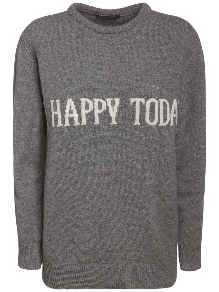 ALBERTA FERRETTI Eco Cashmere & Wool Knit Sweater in grey / ivory