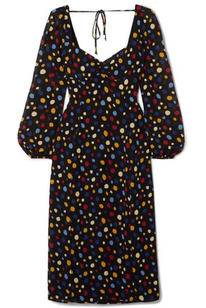 Reformation - Mabille Polka-dot Woven Dress - Black