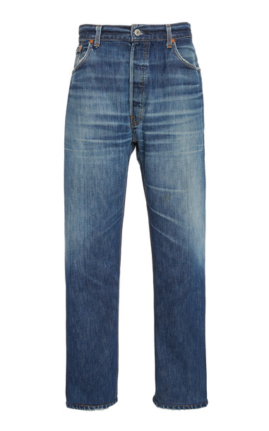 Re/done Cropped High-Rise Straight-Leg Jeans Size: 28