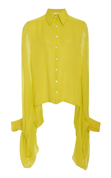 Carolina Herrera Sheer Silk Button-Up Blouse in yellow