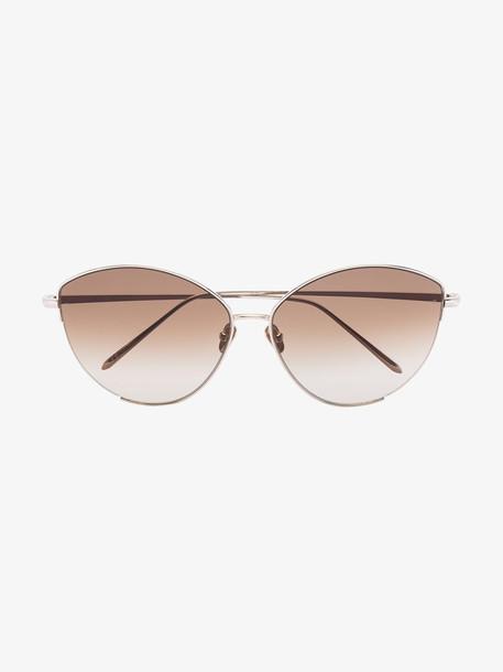 Linda Farrow 22K yellow gold-plated Ella cat eye sunglasses