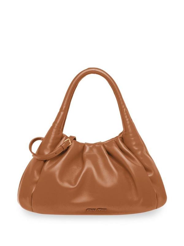 Miu Miu gathered detail tote bag in brown