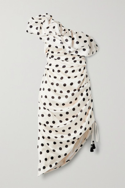 Johanna Ortiz - Net Sustain Unprecedented One-shoulder Polka-dot Satin Midi Dress - Ecru