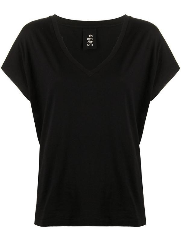 Thom Krom V-neck short sleeve T-shirt in black